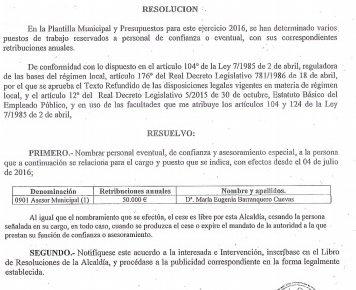 Resolución de contratación